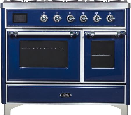 Majestic II Series 40 Inch Dual Fuel Natural Gas Freestanding Range in Blue with Chrome Trim