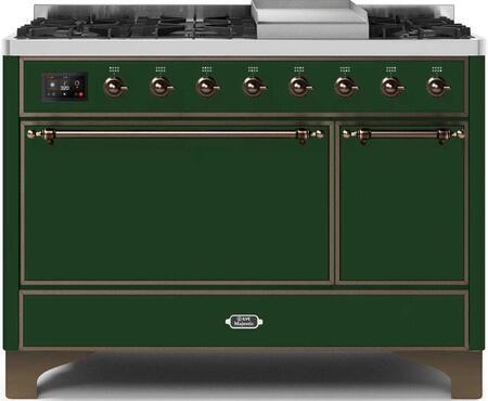Ilve Majestic II UM12FDQNS3EGB Freestanding Dual Fuel Range Green, UM12FDQNS3EGB-Front-CD-A