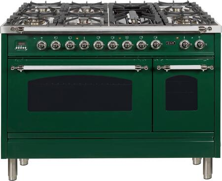 Nostalgie Series 48 Inch Dual Fuel Natural Gas Freestanding Range in Emerald Green with Chrome Trim