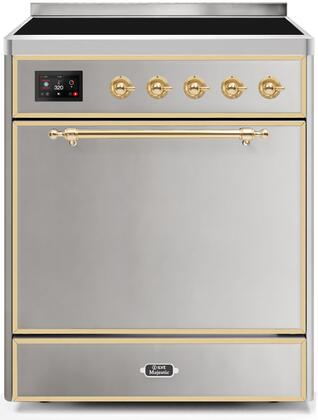 Ilve Majestic II UMI30QNE3SSG Freestanding Electric Range Stainless Steel, UMI30QNE3SSG-Front-CD-A