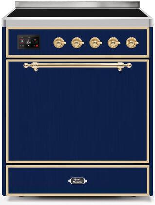 Ilve Majestic II UMI30QNE3MBG Freestanding Electric Range Blue, UMI30QNE3MBG-Front-CD-A
