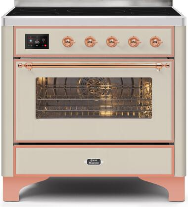 Ilve Majestic II UMI09NS3AWP Freestanding Electric Range Bisque, UMI09NS3AWP-Front-CD-A