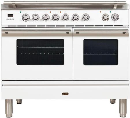 "UPDW100FDMPBLP 40"" Professional Plus Series Freestanding Dual Fuel Liquid Propane Range with Griddle, 2 Ovens, 4 Sealed Burners, Warming Drawer, and 4 cu. ft. Total Oven Capacity, in White"