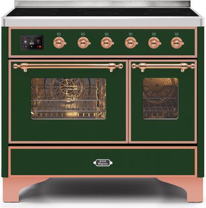 Ilve Majestic II UMDI10NS3EGP Freestanding Electric Range Green, UMDI10NS3EGP-Front-CD-A