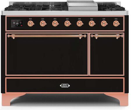 Ilve Majestic II UM12FDQNS3BKP Freestanding Dual Fuel Range Black, UM12FDQNS3BKPNG-Front-CD-A