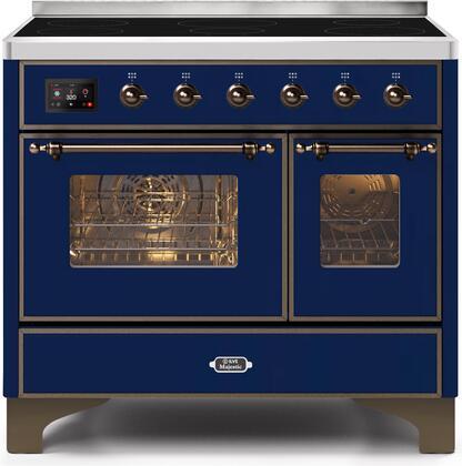 Ilve Majestic II UMDI10NS3MBB Freestanding Electric Range Blue, UMDI10NS3MBB-Front-CD-A