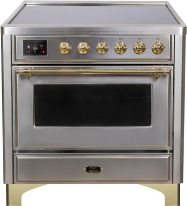 Ilve Majestic II UMI09NS3SSG Freestanding Electric Range Stainless Steel, UMI09NS3SSG-Front-CD-A