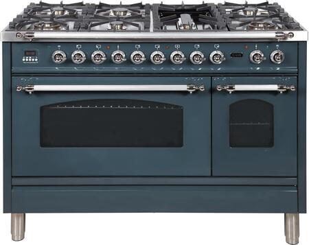 """UPN120FDMPBGXLP 48"""" Nostalgie Series Dual Fuel Natural Gas Range with 7 Sealed Burners, 5 cu. ft. Total Capacity True Convection Oven, Griddle, and Chrome Trim, in Blue Grey"""
