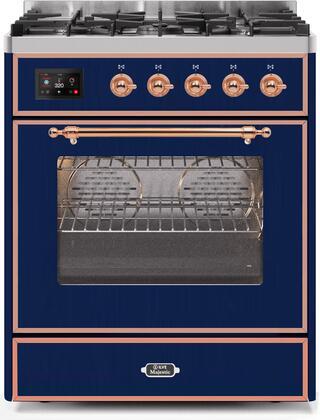 Ilve Majestic II UM30DNE3MBPLP Freestanding Dual Fuel Range Blue, UM30DNE3MBPLP-Front-CD-A