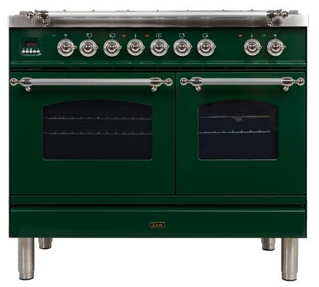 Ilve Nostalgie UPDN100FDMPVSXLP Freestanding Dual Fuel Range Green, ilve  UPDN100FDMPVSXLP range front