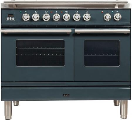 "UPDW100FDMPGULP 40"" Professional Plus Series Freestanding Dual Fuel Liquid Propane Range with Griddle, 2 Ovens, 4 Sealed Burners, Warming Drawer, and 4 cu. ft. Total Oven Capacity, in Blue Grey"