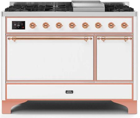 Ilve Majestic II UM12FDQNS3WHP Freestanding Dual Fuel Range White, UM12FDQNS3WHPNG-Front-CD-A