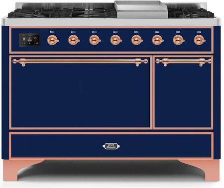 Ilve Majestic II UM12FDQNS3MBPLP Freestanding Dual Fuel Range Blue, UM12FDQNS3MBPLP-Front-CD-A