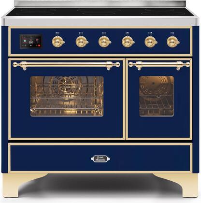 Ilve Majestic II UMDI10NS3MBG Freestanding Electric Range Blue, UMDI10NS3MBG-Front-CD-A