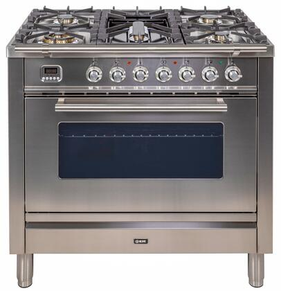 """UPW90FDVGGI 36"""" Professional Plus Freestanding Natural Gas Range with 5 Sealed Burners, 3.5 cu. ft. Oven Capacity, Convection, Electric Rotisserie, Chrome Trim, in Stainless Steel"""