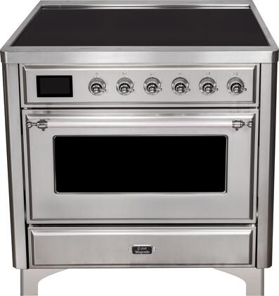 Ilve Majestic II UMI09NS3SSC Freestanding Electric Range Stainless Steel, UMI09NS3SSC Majestic II Induction Range