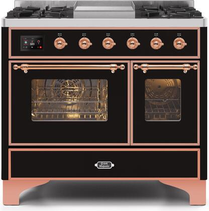 """UMD10FDNS3BKPLP 40"""" Majestic II Series Dual Fuel Liquid Propane Rangewith 6 Sealed Burners and Griddle, 3.82 cu. ft. Total Oven Capacity, TFT Oven Control Display, Copper Trim, in Glossy Black"""
