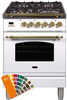 Ilve Nostalgie UPN60DMPRAL Freestanding Dual Fuel Range Custom Color, Custom RAL Color Option, Customer Must Supply RAL Code