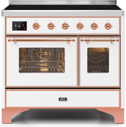 Ilve Majestic II UMDI10NS3WHP Freestanding Electric Range White, UMDI10NS3WHP-Front-CD-A
