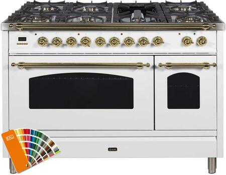 """UPN120FDMPRALLP 48"""" Nostalgie Series Dual Fuel Liquid Propane Range with 7 Sealed Burners, 5 cu. ft. Total Capacity True Convection Oven, Griddle, in Custom Ral Color with Brass Trim"""