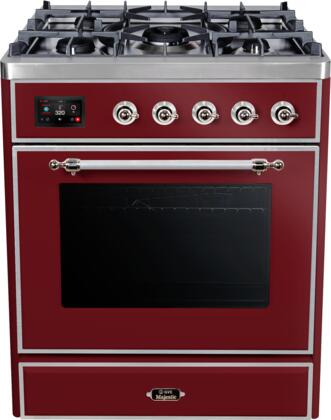 """UM30DNE3BUC 30"""" Majestic II Series Dual Fuel Natural Gas Range with 5 Burners, 2.3 cu. ft. Oven Capacity, TFT Oven Control Display, Chrome Trim, in Burgundy"""