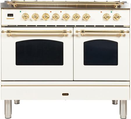 "UPDN100FDMPA 40"" Nostalgie Series Dual Fuel Natural Gas Range with 5 Sealed Brass Burners, 3.55 cu. ft. Total Capacity True Convection Oven, Griddle, with Brass Trim, in Antique White"