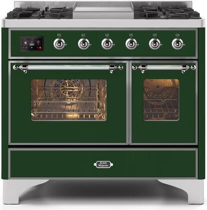 Ilve Majestic II UMD10FDNS3EGC Freestanding Dual Fuel Range Green, UMD10FDNS3EGCNG-Front-CD-A