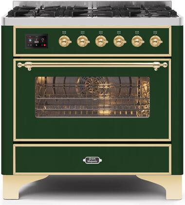 Ilve Majestic II UM096DNS3EGG Freestanding Dual Fuel Range Green, UM096DNS3EGGNG-Front-CD-A