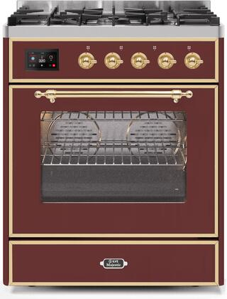 """UM30DNE3BUG 30"""" Majestic II Series Dual Fuel Natural Gas Range with 5 Burners, 2.3 cu. ft. Oven Capacity, TFT Oven Control Display, Brass Trim, in Burgundy"""