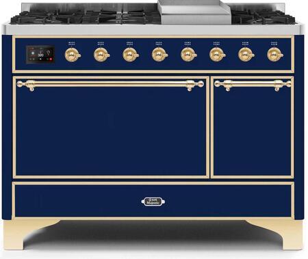 Ilve Majestic II UM12FDQNS3MBGLP Freestanding Dual Fuel Range Blue, UM12FDQNS3MBGLP-Front-CD-A