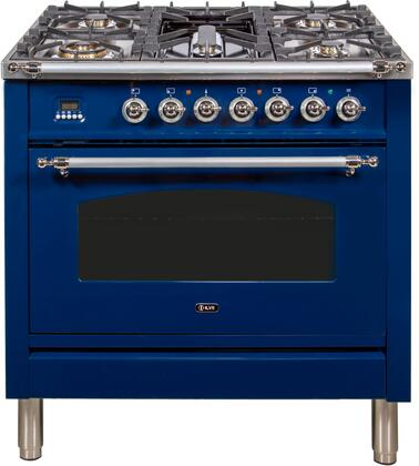 """UPN90FDMPBLXLP 36"""" Nostalgie Series Dual Fuel Liquid Propane Range with 5 Sealed Brass Burners, 3 cu. ft. Capacity True Convection Oven, with Chrome Trim, in Blue"""