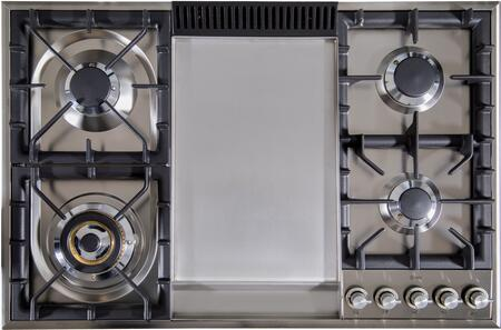 "UXLP90FI 36"" Built In Gas Cooktop with 5 Brass Burners, Griddle, Flame Failure Safety Device, Cast Iron Grates, and Deep Recessed Spill Trays: Stainless Steel"