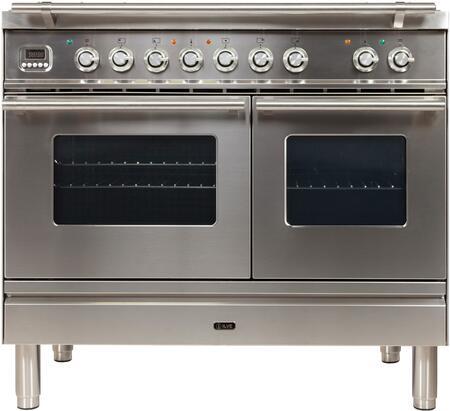 Ilve Professional Plus UPDW100FDMPILP Freestanding Dual Fuel Range Stainless Steel, UPDW100FDMPI Gas Range