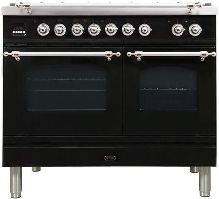 Ilve Nostalgie UPDN100FDMPNXLP Freestanding Dual Fuel Range Black, UPDN100FDMPNX Nostalgie Dusl Fuel Range