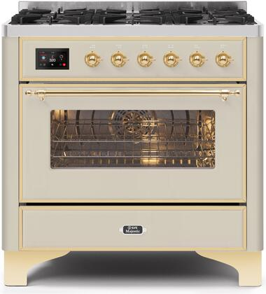 """UM096DNS3AWG 36"""" Majestic II Series Dual Fuel Natural Gas Range with 6 Burners, 3.5 cu. ft. Oven Capacity, TFT Oven Control Display, Gold Trim, in Antique White"""