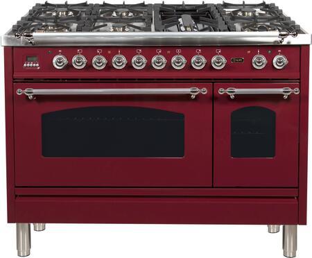 Ilve Nostalgie UPN120FDMPRBX Freestanding Dual Fuel Range Red, UPN120FDMPRBX Dual Fuel Gas Range