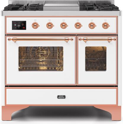 Ilve Majestic II UMD10FDNS3WHPLP Freestanding Dual Fuel Range White, UMD10FDNS3WHPNG-Front-CD-A