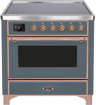 """UMI09NS3/BGP 36"""" Majestic II Series Induction Range with 5 Elements, 3.5 cu. ft. Oven Capacity, TFT Oven Control Display, Blue Grey with Copper Trim"""