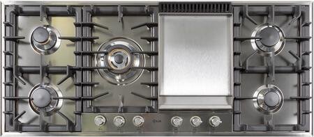 """UHP125FC/I/LP 48"""" Liquid Propane Gas Cooktop with 6 Sealed Brass Burners, Griddle, Cast Iron Heavy Duty Grates, Deep Recessed Spill Trays, in Stainless Steel"""