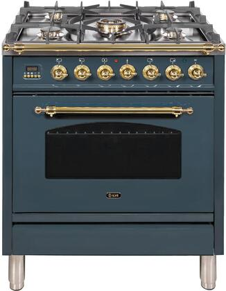 """UPN76DMPBGLP 30"""" Nostalgie Series Dual Fuel Range with 5 Sealed Burners, 3 cu. ft. Capacity True Convection Oven, with Brass Trim, in Blue Grey"""