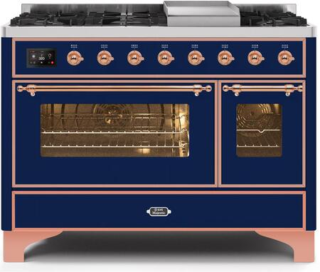 Ilve Majestic II UM12FDNS3MBP Freestanding Dual Fuel Range Blue, UM12FDNS3MBPNG-Front-CD-A