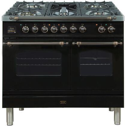 Ilve Nostalgie UPDN100FDMPNY Freestanding Dual Fuel Range Black, ILVE UPDN100FDMPNYNG Range front