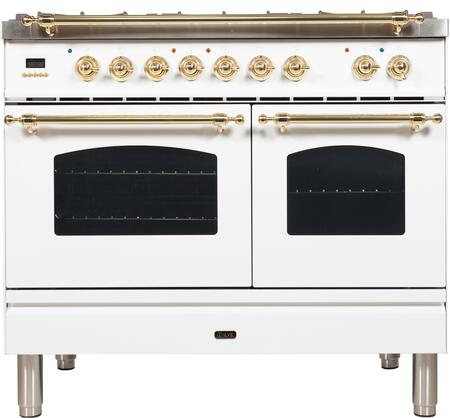 "UPDN100FDMPB 40"" Nostalgie Series Dual Fuel Natural Gas Range with 5 Sealed Brass Burners, 3.55 cu. ft. Total Capacity True Convection Oven, Griddle, with Brass Trim, in White"