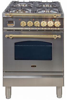 Ilve Nostalgie UPN60DMPI Freestanding Dual Fuel Range Stainless Steel, UPN60DMPI Dual Fuel Range