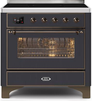 Ilve Majestic II UMI09NS3MGB Freestanding Electric Range Graphite, UMI09NS3MGB-Front-CD-A