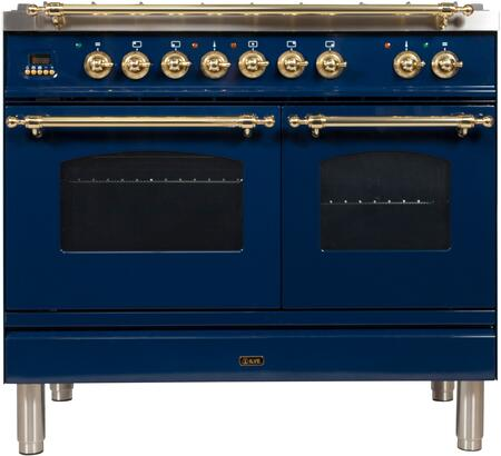 "UPDN100FDMPBLLP 40"" Nostalgie Series Dual Fuel Liquid Propane Range with 5 Sealed Brass Burners, 3.55 cu. ft. Total Capacity True Convection Oven, Griddle, with Brass Trim, in Blue"