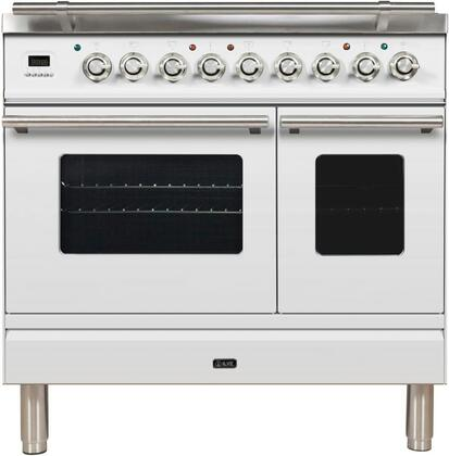 "UPDW90FDMPBLP 36"" Professional Plus Dual Fuel Liquid Propane Range with 5 Sealed Burners, Double Oven, Griddle, Rotisserie, and Warming Drawer, in White"