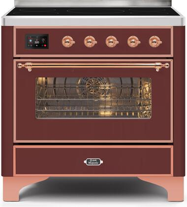 Ilve Majestic II UMI09NS3BUP Freestanding Electric Range Red, UMI09NS3BUP-Front-CD-A