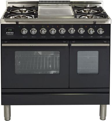 Professional Plus Series 36 Inch Dual Fuel Natural Gas Freestanding Range in Matte Graphite with Chrome Trim