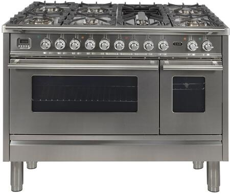"UPW120FDMPI 48"" Professional Plus Dual Fuel Range with 7 Sealed Burners, Double Ovens, Griddle, and Rotisserie, in Stainless Steel"